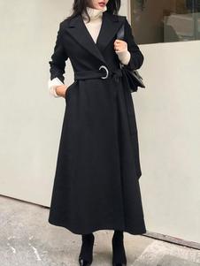 Черный макси пальто отложным воротником с длинными рукавами зашнуровать негабаритных повседневная верхняя одежда для женщин