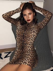 Abiti aderenti sexy Mini abito maniche lunghe collo alto stampa leopardo