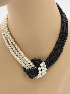 Ожерелья Black Metal Имитация Pearl женщин ювелирные изделия
