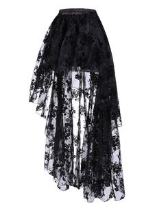 Disfraz Carnaval Traje de Steampunk negro Falda con volantes en capas de encaje Ropa vintage para mujeres Carnaval