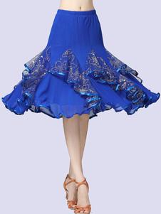 Disfraz Carnaval Disfraces de baile de salón Falda larga de tul Vestido de baile dorado para mujeres Carnaval