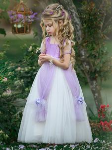 Vestidos da menina de flor Praça Neck Tafetá mangas curtas tornozelo comprimento princesa silhueta flores crianças vestidos de festa social