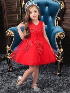 Платья для девочек-цветочниц Драгоценная шея Полиэстер Хлопок без рукавов длиной до колен Принцесса Силуэт Луки Формальные детские театрализованные платья