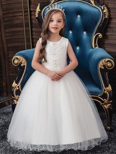 Vestidos da menina de flor Jóia Pescoço Poliéster Algodão Sem Mangas Tornozelo Comprimento Princesa Silhueta Frisado Crianças Vestidos de Festa