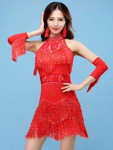 Vestidos de dança latina Fringe Rhinestone Lace Dress Dancing Costume