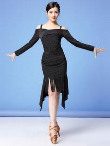 Dança Latina Dresse Fringe Ruffle Slit Women Dress Dance Costume