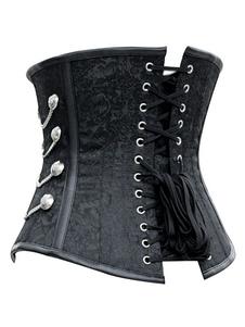 Disfraz Carnaval Cadena negro Steampunk del traje metálico Jacquard corsé retro para las mujeres Carnaval