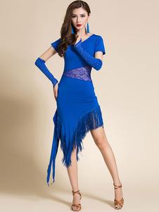 Vestidos de dança latina Fringe Lace Rhinestone Dançarina Latina Wear