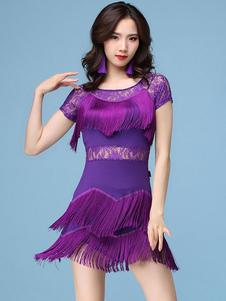 Disfraz Carnaval Vestidos de baile latino Vestido de mujer con flecos de encaje Ropa de baile Carnaval