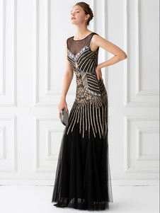Vestidos años 20 color albaricoque  Charleston disfraz fibra de poliéster de poliéster para baile para adultos con vestido DISFRACES