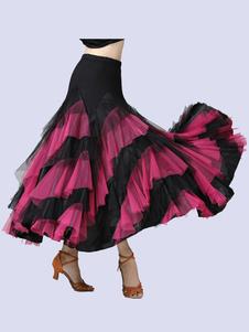 رقص رقص ازياء Rufflt اثنين من لهجة راقصة الرقص تنورة طويلة اللباس