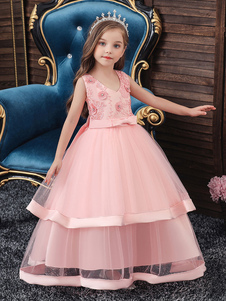 Vestidos da menina de flor V Neck Poliéster algodão sem mangas tornozelo comprimento princesa silhueta bordado crianças vestidos de festa