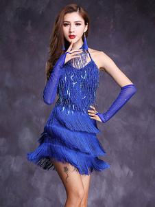 Disfraz Carnaval Traje de baile latino Traje de baile de lentejuelas con flecos para mujer Carnaval