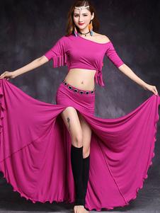 Traje de dança do ventre plissado franja mulheres dançando desgaste