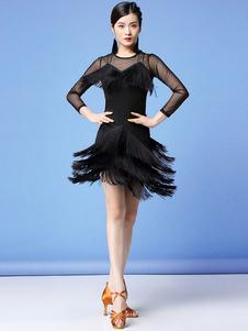 فساتين الرقص اللاتينية هامش الطبقات شير اللباس زي الرقص