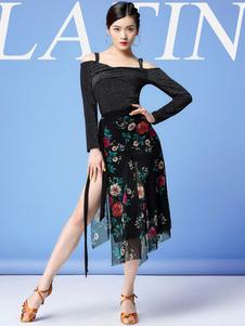 فساتين الرقص اللاتينية زهرة طباعة الشق كشكش ملابس الرقص اللاتينية راقصة سوداء