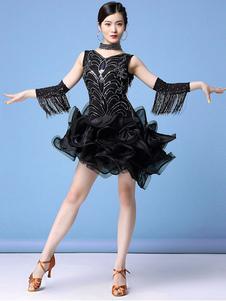Disfraz Carnaval Vestidos de baile latino Seuiqn Fringe con capas de volantes Traje de baile de bailarina latina Carnaval