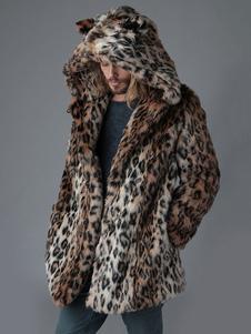 Casacos de peles artificiais para homens Leopard Animal Print Hooded Casacos