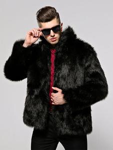 Bomber in pelliccia sintetica da uomo Cappotti con collo rovesciato per l'inverno
