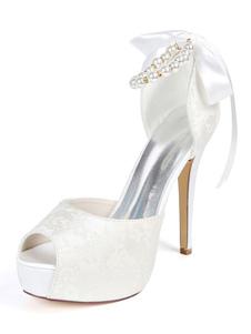 """أحذية الزفاف منصة الدانتيل زقزقة اصبع القدم اللؤلؤ 4.9 """"أحذية الزفاف"""