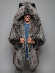 Cappotti da uomo in pelliccia sintetica con cappuccio Cappotti in pelliccia sintetica