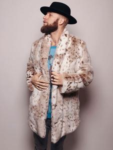 Cappotti in pelliccia sintetica da uomo Giacche fuzzy Cappotti invernali Stampa leopardo