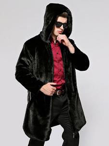 Giacche in pelliccia sintetica con cappuccio da uomo Cappotti invernali in nero