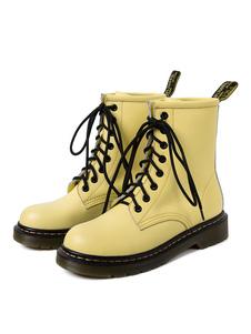 Botas de combate de couro de mulheres atam botas de dedo do pé redondo