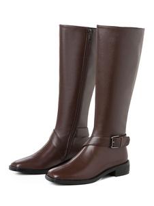 النساء جلد طبيعي بطول الركبة أحذية جلد البقر ساحة اصبع القدم مشبك كتلة كعب