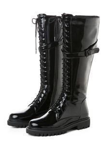 النساء \ 'ق القتالية الأحذية براءات الاختراع والجلود الدانتيل يصل أحذية عالية في الركبة شقة