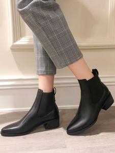 النساء تشيلسي أحذية الكاحل أحذية جلد البقر جلد طبيعي كتلة كعب الجوارب
