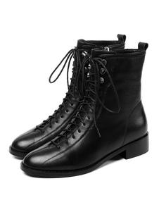 النساء القتالية أحذية جلد البقر حقيقية leahter مكتنزة كعب الدانتيل يصل أحذية الكاحل