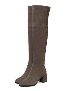 """Stivali sopra il ginocchio da donna Stivali in pelle scamosciata Punta tonda nera 2.6 """"Stivali con tacco largo"""