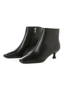 "Stivaletti da donna in pelle bovina punta quadrata Kitten Heel 2 ""Booties"
