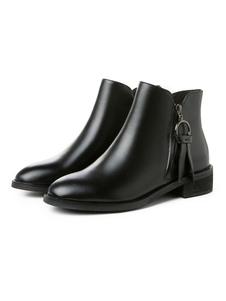 """النساء جلد طبيعي أحذية الكاحل جلد البقر جولة اصبع القدم كتلة كعب 1.4 """"الجوارب السوداء"""