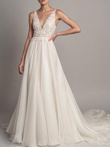 Vestido de noiva simples 2020 A Linha V Neck mangas frisadas vestidos de noiva com trem