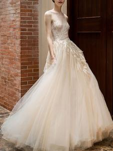 Vestido de noiva 2020 Princesa Silhueta Até O Chão Jewel Neck Sem Mangas Cintura Natural Lace Tulle Vestidos De Noiva