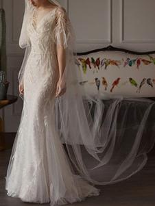 Свадебные платья 2020 Оболочка Sihouette Половина рукава с V-образным вырезом Длина пола бамбука листьев кружева свадебное платье