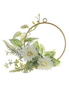 Decorações de casamento Flores brancas Círculo dourado Metal Decorações de festa