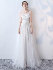 Simples vestido de noiva 2020 uma linha jóia pescoço sem mangas arcos rendas tule vestidos de noiva