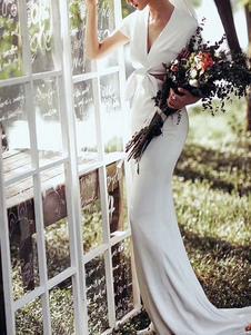 Vestidos de novia sencillos ajustada con manga corta Vestidos de novia Marfil con cuello en V cintura natural con diseño hueco
