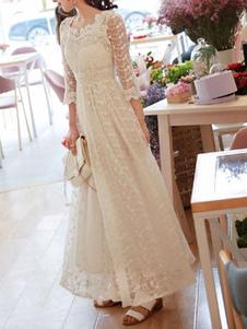Свадебное платье 2020 A Line V шеи 3/4 Длина рукава до щиколотки Кружева Свадебные платья
