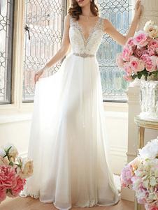 Vestido de noiva simples 2020 A Linha V Neck mangas até o chão vestidos de noiva de renda