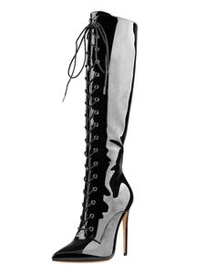 """أحذية طول الركبة وأشار اصبع القدم خنجر كعب 4.7 """"الدانتيل يصل أحذية النساء"""