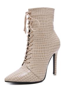 "Botas de tornozelo para mulheres Croco Print Toe Pointed Stiletto Heel 4.1 ""Booties"