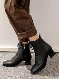 """Mulheres Botas de tornozelo de couro genuíno couro lace up toe quadrado carretel salto 2 """"botinhas"""