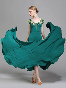 Trajes de dança de salão Silk Florla Print V Neck Dark Green Dancer Dress Dance Wear