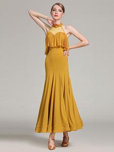 Trajes de dança de salão Ruffle de seda Vestido de sereia Tule Patch Mulheres Vestido de dança