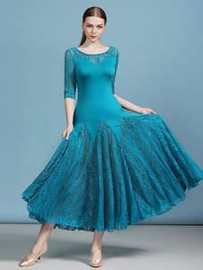 Trajes de dança de salão Folha Padrão Lace Cyan Blue Dancer Dress Mulheres Dance Dress
