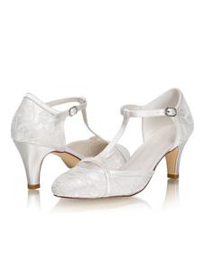 أحذية الزفاف T- نوع الساتان العاج هريرة كعب أحذية الزفاف